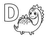 Dibuix de D de Dinosaure per pintar