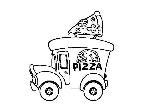 Dibuix de Food truck de pizza per Pintar on-line