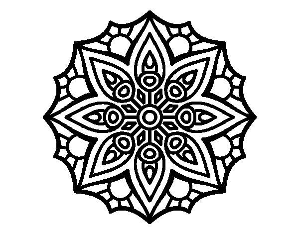 Dibuix de Mandala simetria senzilla per Pintar on-line