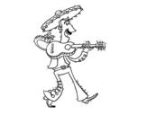 Dibuix de Mariatxi amb guitarra per pintar
