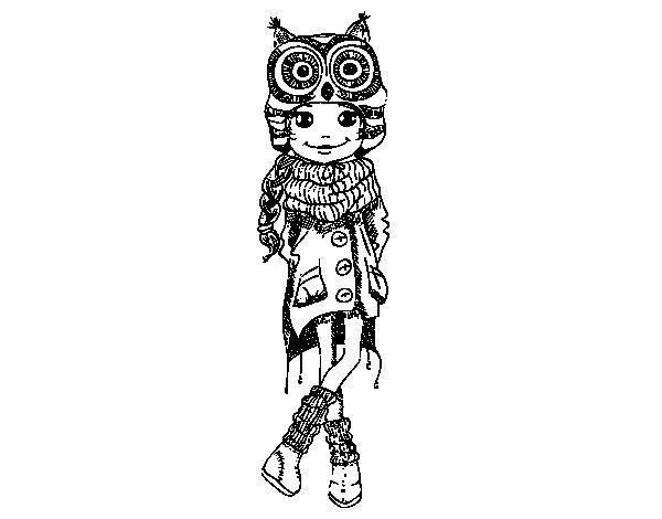 Dibuix de Nena moda d'hivern per Pintar on-line