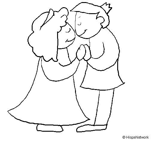 Dibuix de Prínceps besant-se per Pintar on-line