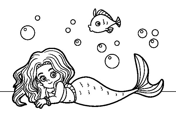 Dibuix de Sirena bonica per Pintar on-line