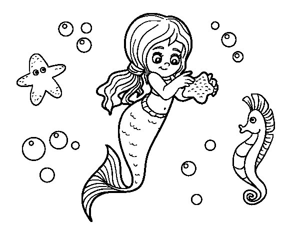 Dibuix de Sirena preciosa per Pintar on-line