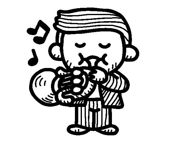 Dibuix de Trompetista  per Pintar on-line